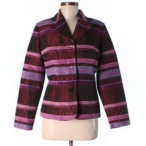 ColdWater Creek Burgundy Stripe Blazer